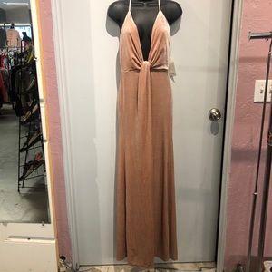 NWT Pink Velvet Strappy Maxi Toni Dress w/ Slit